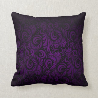 Royal Purple Swagger Floral Print Throw Pillow