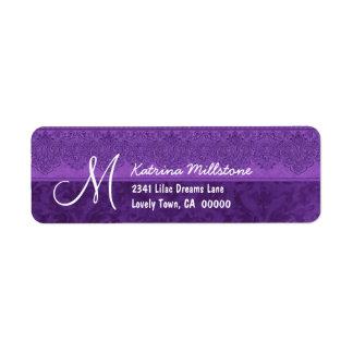 ROYAL PURPLE Textured Monogram M Address Label