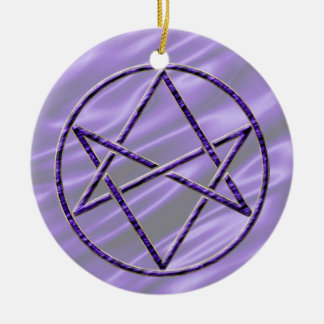 Royal Purple Unicursal Ceramic Ornament