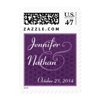 Royal Purple & White Bride and Groom Wedding Stamp