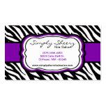 Royal Purple Zebra Print Hair Salon Business Card