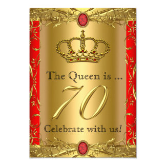 Royal Queen King Regal Red Gold 70th Birthday Card