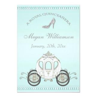 Royal Quinceañera Princess Coach & Sparkle Heels 5x7 Paper Invitation Card