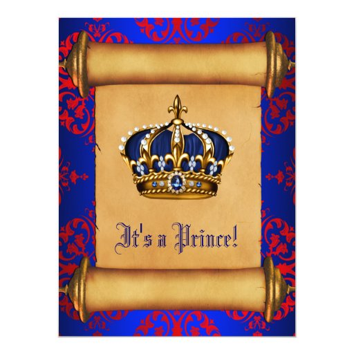 royal red and blue prince baby shower invitation zazzle