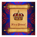 Royal Red and Blue Prince Baby Shower Custom Invites