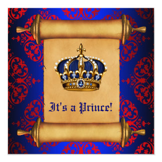 Royal Red and Blue Prince Baby Shower Custom Announcements