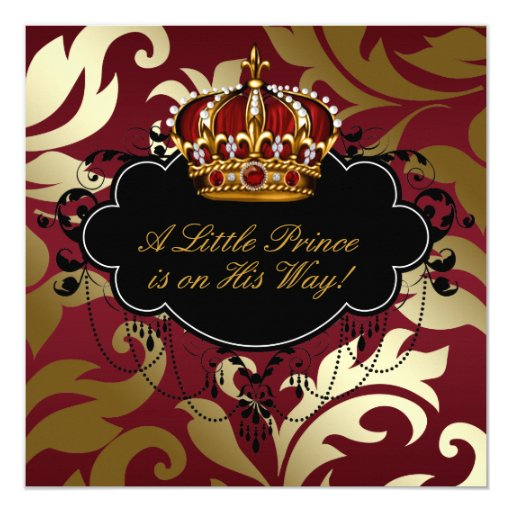 Royal Red and Gold Prince Baby Boy Shower Custom Announcement