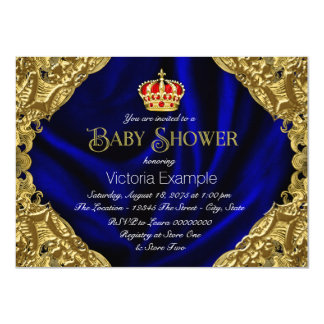 Royal Red Blue and Gold Crown Baby Shower Card