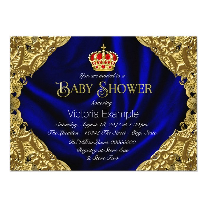 royal red blue and gold crown baby shower card zazzle