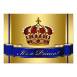 Royal Red Blue and Gold Crown Prince Baby Shower Cards