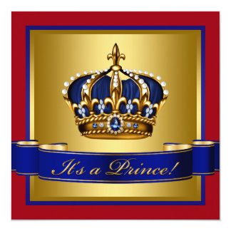 Royal Red Blue and Gold Crown Prince Baby Shower Custom Announcement
