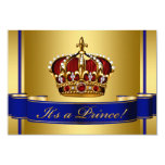 Royal Red Blue and Gold Crown Prince Baby Shower Invite