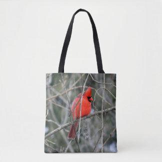 Royal Red Cardinal Printed Tote Bag