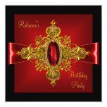 Royal Red Diamond Jewel Gold Bow Black 2 Custom Invites