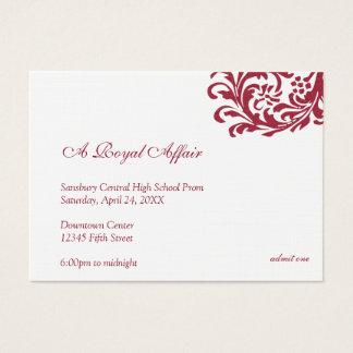Royal red formal prom bid custom admission ticket