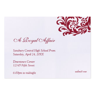 Royal red formal prom bid custom admission ticket business card templates
