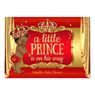 Royal Red Gold Boy Prince Baby Shower Ethnic Card