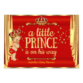 Royal Red Gold Drapes Prince Baby Shower Blonde Card
