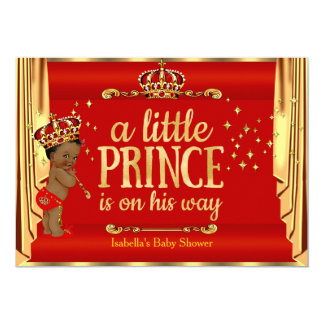 Royal Red Gold Drapes Prince Baby Shower Ethnic Card