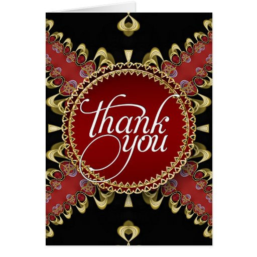 Royal Red Gold Lace Thank You Cards