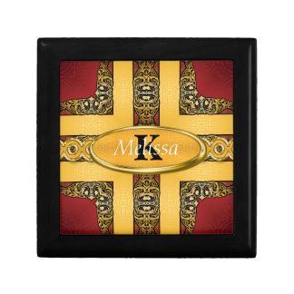 Royal Red & Gold Ornate Monogram Gift Box
