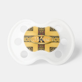 Royal Red Gold Ornate Monogram Baby Pacifier