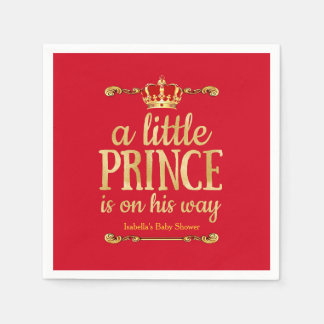 Royal Red Gold Prince On His Way Baby Shower Napkin