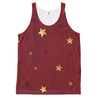 Royal Red Golden Stars All-Over Print Tank Top