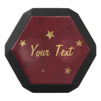 Royal Red Golden Stars Customizable Black Bluetooth Speaker
