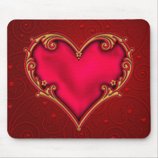 Royal Red Heart Mouse Pad