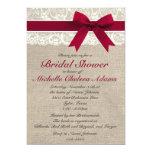 "Royal Red Lace Burlap Bridal Shower Invitation 5"" X 7"" Invitation Card"