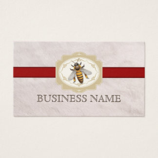 Royal Red Stripe Fur Texture Bee Business Card