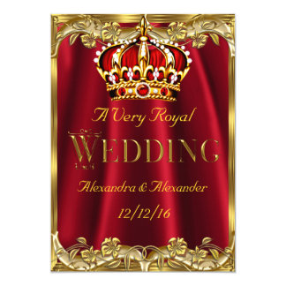 Royal Red Wedding Gold Crown Card