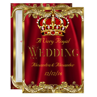 Royal Red Wedding Gold Crown Invitation