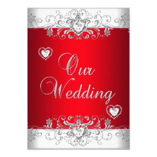 Royal Red Wedding Silver Diamond Hearts Card