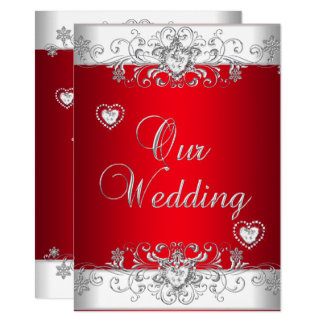 Royal Red Wedding Silver Diamond Hearts Invitation