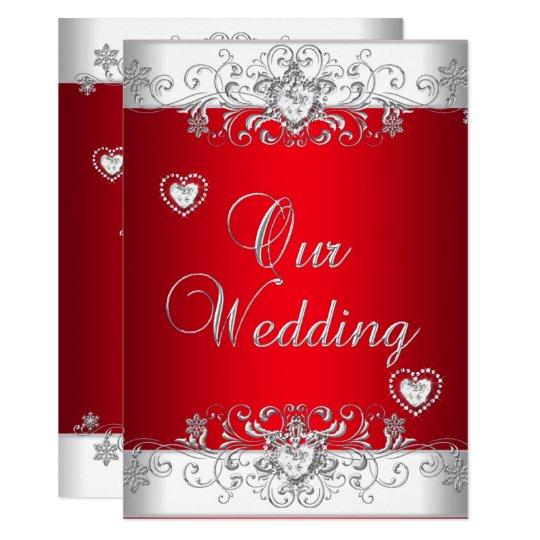 Www Zazzle Com Wedding Invitations: Royal Red Wedding Silver Diamond Hearts Invitation