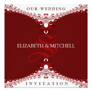 Royal Red+White Lace Monogram Wedding Invitations