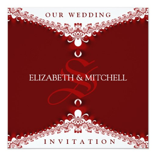 Royal Red White Lace Monogram Wedding Invitations