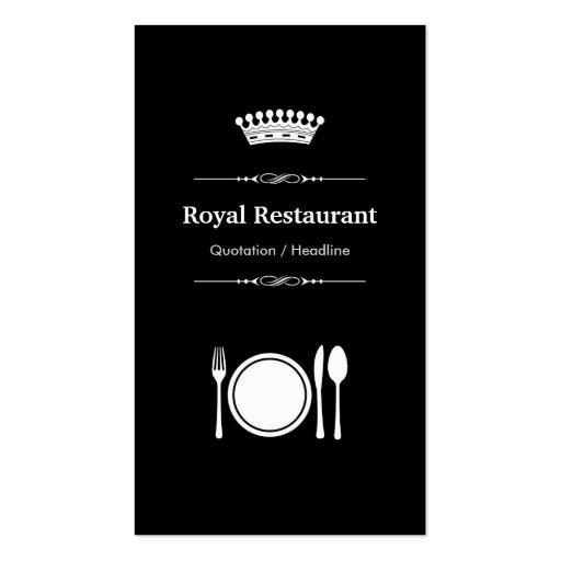 Royal Restaurant - Elegant Modern Black White Business Card Templates