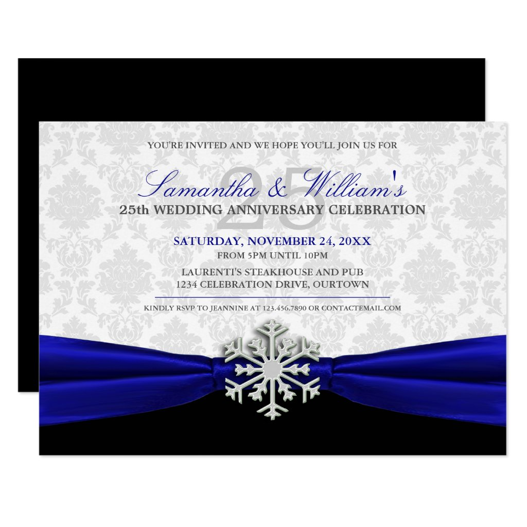 Royal Ribbon Anniversary Party Invitation