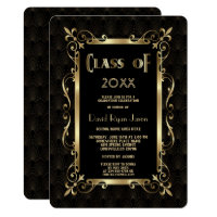 Royal Roaring 20s Gold Art Dec Graduation Party Card