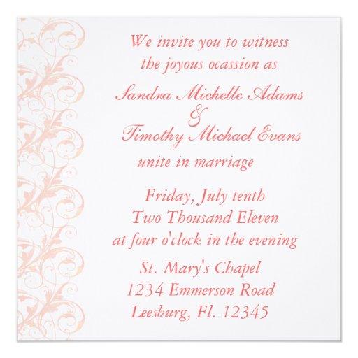 Royal Romance Peachy Pink & White Wedding Invites