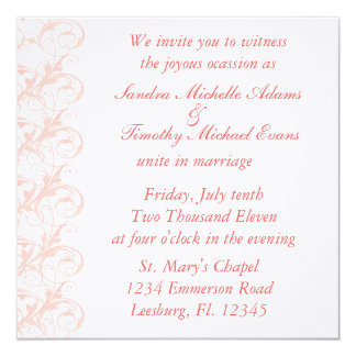 "Royal Romance Peachy Pink & White Wedding Invites 5.25"" Square Invitation Card"