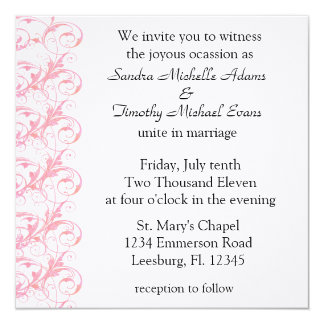 "Royal Romance Rose And White Wedding Invitations 5.25"" Square Invitation Card"