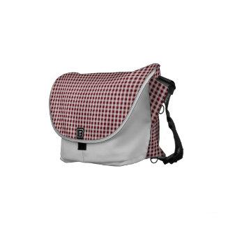 Royal Rose Red Gingham Check Plaid Pattern Small Messenger Bag