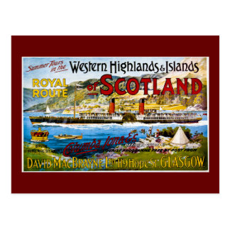 Royal Route of Scotland Summer Tours Vintage Postcard