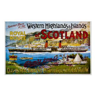 Royal Route of Scotland  Summer Tours Vintage Poster
