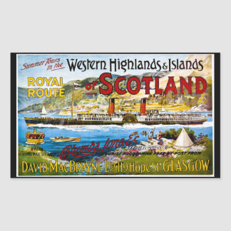 Royal Route of Scotland Summer Tours Vintage Rectangular Sticker