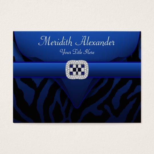 Royal Sapphire Blue Elegant Zebra Business Cards